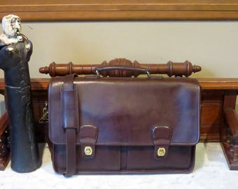 Spring Sale Coach Prescott Briefcase In Mahogany Leather With Brass Hardware Style No 5275- Made in United States - VGC