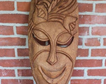 Wooden Tiki Mask Hand Carved Wall Hanging