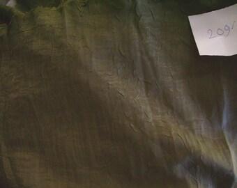NO. 209-FABRIC CHIFFON EFFECT ORGANZA RUFFLED GREEN CONSTABLE HAS BEIGE PATTERN