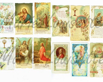 DIGITAL DOWNLOAD, 12 antique french holy printable cards, prayer cards,christian cards, paper ephemera