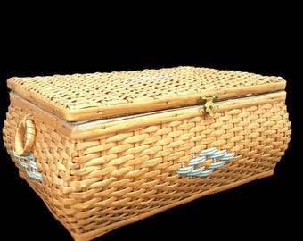 vintage french wicker sewing box with blue cloth inside - blue scoubidou decor