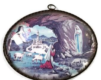 "Vintage french bubble glass religious oval frame ""Lourdes"", french souvenir"