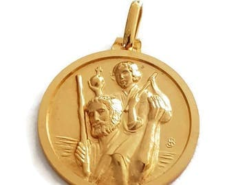 Vintage Christian Medal, Gold Plated Catholic Medal, St Christopher with Child, French Christian Jewelry by J. Balme