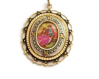vintage damascene porcelain pendant, Toledo spain jewelry