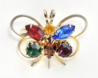 Colored Rhinestone Gold-tone Butterfly Brooch 1950s - 1960s