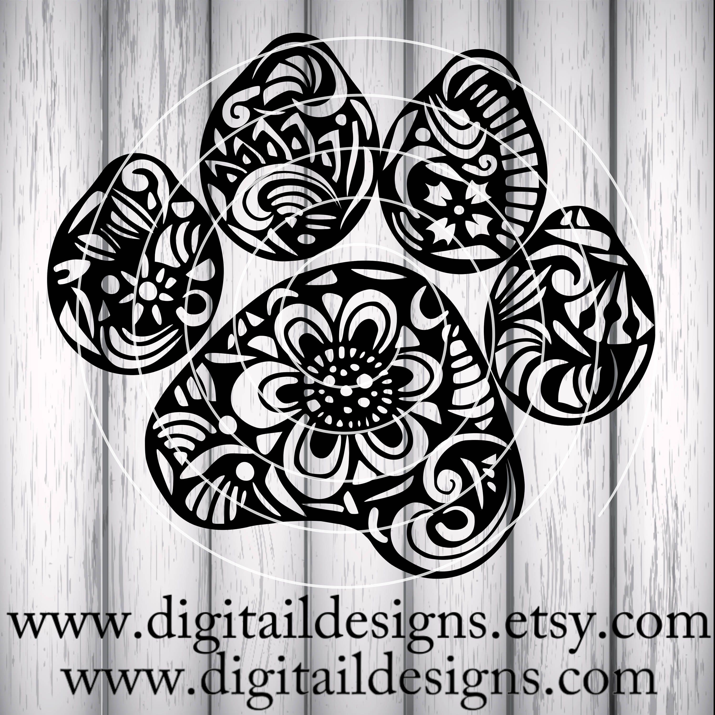 Download Zentangle Paw Print SVG dxf fcm eps ai png Cut