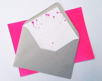 Neon splash lined envelopes - pack of 10