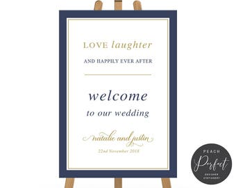 Navy Blue and Gold Wedding Welcome Sign, Modern Wedding Sign, Calligraphy, Free Colour Changes, DIY Printable We Print, Nordic Navy