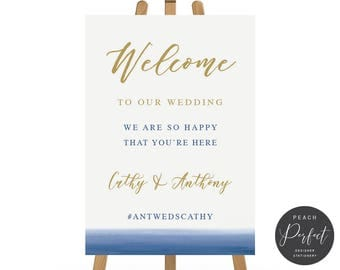 Navy Blue and Gold Modern Wedding Welcome Sign, Printable Wedding Poster, Watercolour Wedding Poster, DIY Printable, Blue Ombre