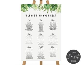 Printable Wedding Seating Chart, Seating Plan, Tropical Wedding, Digital or Professionally Printed, Kimberley
