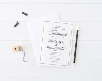Printable Wedding Invitations, Black and White Calligraphy Invites, Professionally Printed or Digital File, Calligraphy Suite