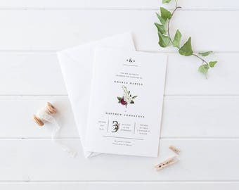 Wedding Invitation Suite, Printable or Professionally Printed, Red and White Roses, Watercolour Floral, Rustic Garden Wedding, Kharla Suite