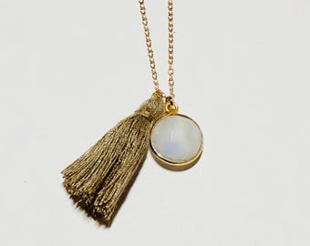 Moonstone Daydreams Necklace - Tassel Necklace - Moonstone Necklace - Bridal Shower Gift - Gold Chain Necklace - Festival Jewelry