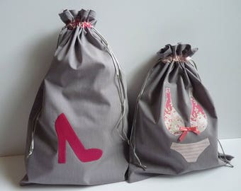 Laundry bag for underwear and shoe/drawsting bag/Liberty flowers