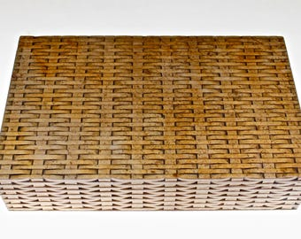 Hand Carved Basket Weave Soapstone Box