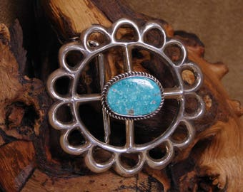 Sterling Silver Turquoise Navajo Flower Belt Buckle