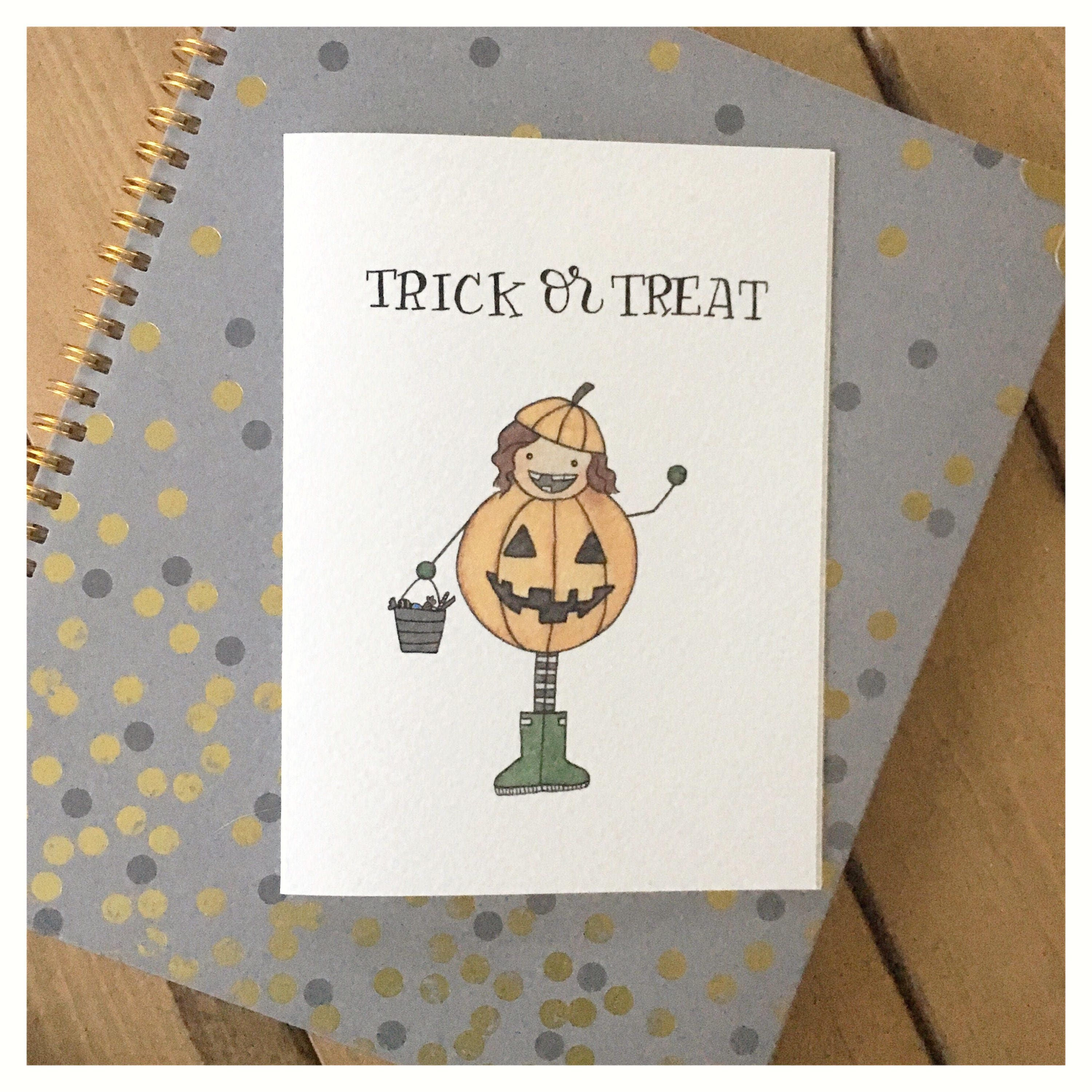 Trick or treat card trick or treat greeting card holiday card trick or treat card trick or treat greeting card holiday card halloween card festive card cute card pumpkin card funny cards pun m4hsunfo Choice Image