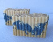 Bay Rum scented Soap Bars ~ for the Men! Blue swirl, crinkle cut, rugged look. ~ warm rich smell