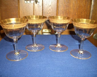 Four Tiffin Gold Rimmed Rambler Rose Cordials...Sherry Glasses