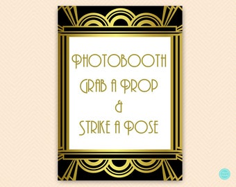 Photo Booth Sign, Props Signs, Gold Roaring Twenties Bridal Shower Decoration Signs, Art Deco, Gold Roaring Twenties Wedding Signs BS31