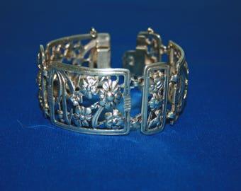 "Vintage 7"" Sterling Silver Floral Panel Link Bracelet with Security Chain"