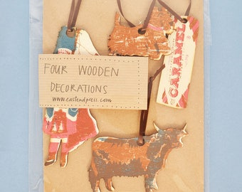 Scottish Wooden Decorations - pack of four, hand printed