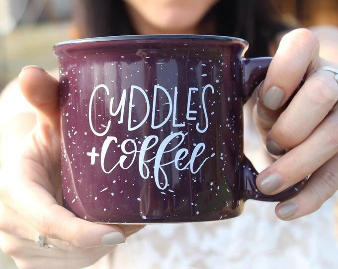 Featured listing image: Cuddles and Coffee campfire mug |  Handlettered Mug | Holiday Mug | speckled Mug | fall mug | coffee lover gift | handmade mug