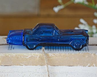 Vintage Avon bottle - Cadillac - Perfume bottle - Blue - Classic car
