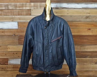 Vintage navy blue and burgundy leather coat - 80s - Biker Rocker - Small