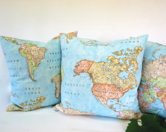 cotton~map of the world print~cushion cover~pillow cover~continents of the world~Asia~Africa~North South America~Europe~Australia~20inch