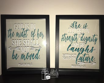 Pair of Framed Bible Verses