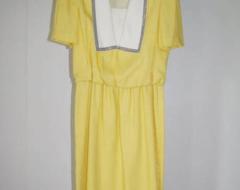 On Sale Vintage Sunny Yellow Dress By Leslie Fay Size 14 Union Label Made in USA FREE US Standard Shipping