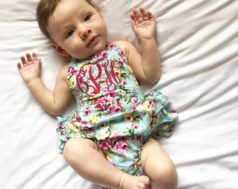 Monogrammed baby girl romper, monogrammed baby girl gift, baby shower gift, monogrammed baby gift, customized summer clothing