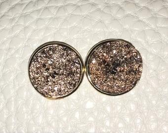 Copper & Gold oval Druzy Studs, 12mm druzy gold, gold earrings, druzy earrings, gold druzy, druzy jewelry, gold jewelry, stud earrings