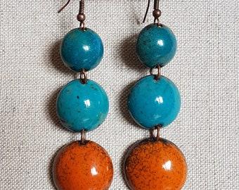 Boucles  d'oreilles - trio émaillé sur cuivre - Bleu canard, bleu turquoise, orange