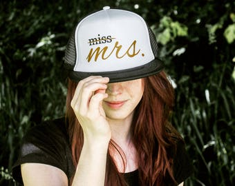 Miss Mrs Trucker Hat Bride Gift Bride Hat Bride Cap Bachelorette Party Caps Gift Bride To Be Gift Bridal Shower Gift Bride Baseball Cap