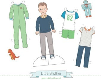 Printable LITTLE BROTHER add-on set - PDF instant download - boy paper doll, clothes, toys, colorable, coloring page, light skin