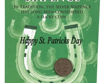St PATRICK'S DAY, Lucky Silver Sixpence Fun Gift or Greetings Card, Free U.K. 1st Class Post
