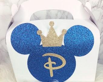 Prince Mickey burthday party favor boxes 1 dozen royal blue and gold