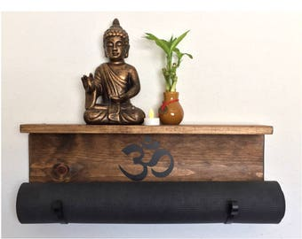 Wall mounted yoga mat holder Yoga mat holder Yoga Mat Rack Yoga Mat Display Exercise Room Decor Fitness Room Accessories Meditation room Om