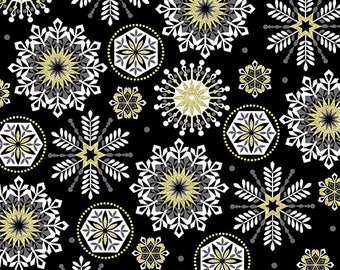 Lets Celebrate, Midnight Crystal Black, Celebration, Medallion Fabric, Happy Birthday Fabric, Party Fabric, Birthday Fabric, by Kanvas, 8382