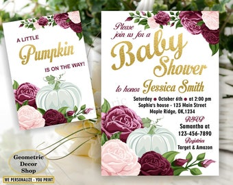 Fall Baby Shower Invitation, Burgundy, Wine, Blush, Pink Florals, Greenery Pumpkin Invite, Printed Printable, Flowers, Floral BSPumpkin1