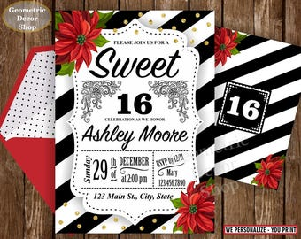 SWEET 16 / sweet / 16 / invitation / gold / 16th / Birthday / floral / black / white / red / invite / flowers / stripes / BD16_5
