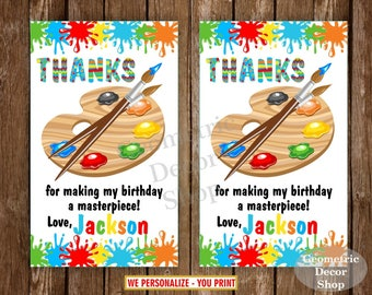 Paint Favor Tags, Art Party Bag Tags, Painting Birthday Party, Birthday Favor Tags, Party Favor Tags, Red Blue Green Yellow, Boy FTPaint4