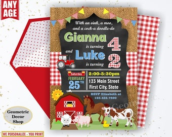 Farm animals birthday invitation red tractor plaid invite rustic boy girl horse cow duck bunny sheep joint double combined dual twins Farm7