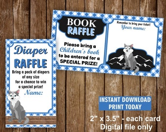 Wolf / Blue / Plaid / Boy / Lumberjack / Diaper / Raffle / Book / Request / insert / baby / shower / Instant / download / Ticket / Wolf1