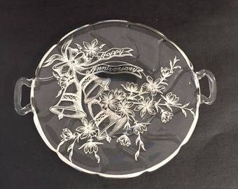 Vintage 'Silver City' Silver  Overlay on Glass  Anniversary Plate / Tray With Bells and Floral Decoration.