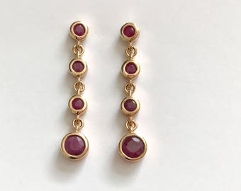 Vintage Red Ruby 18K Gold Vermeil Sterling Silver Dangle Earrings