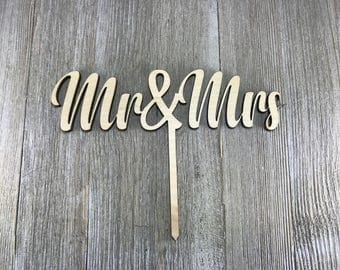 Unfinished Mr&Mrs cake topper Wedding Cake Topper, Mr and Mrs Cake Topper