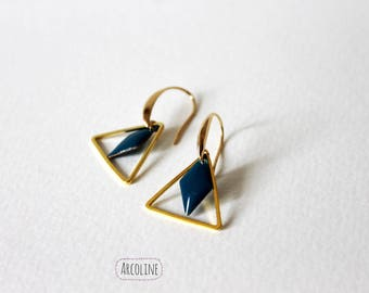 Earring (Triangle) Golden Sequin enamelled blue ° °